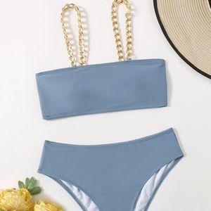 👙 🆕 SHEIN Blue Chain Swim Suit Bikini